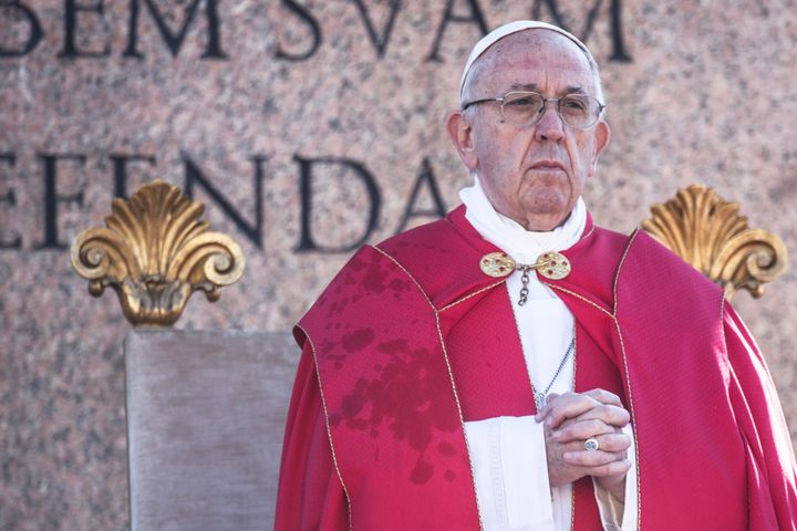 Pope Francis prayed for victims of the blasts during a Palm Sunday Mass.