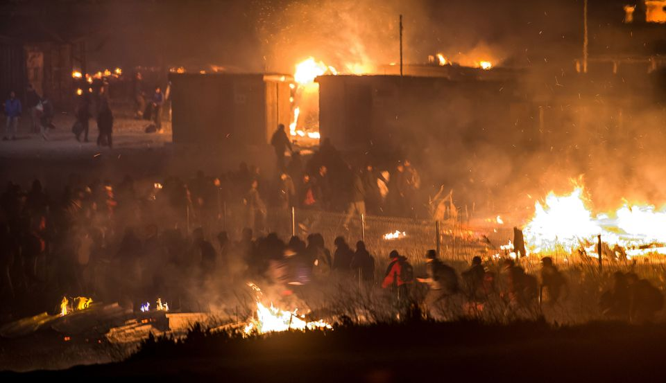 A fight broke out in the camp hours before the blaze