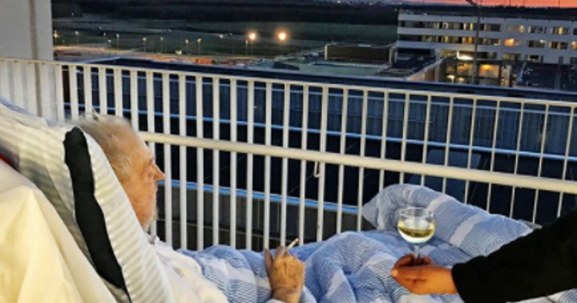 Man Dying Cigarette Wine Hospital Bed