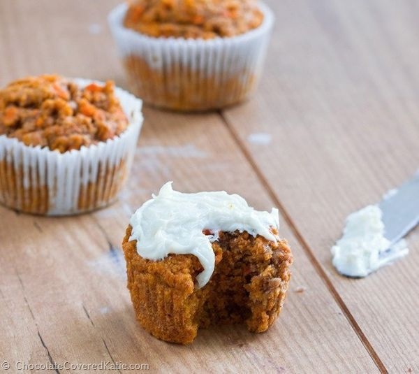 """<strong>Get the <a href=""""http://chocolatecoveredkatie.com/2015/04/01/healthy-carrot-cake-cupcakes/"""" target=""""_blank"""">Healthy C"""