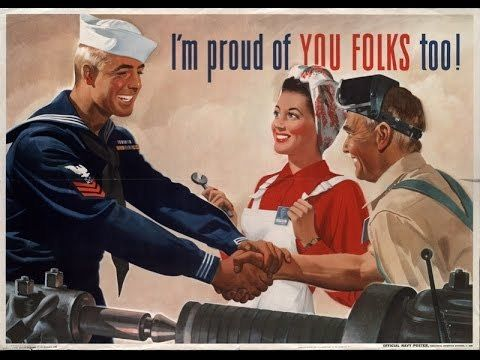 Not all propaganda is designed to create hatred or anger: This World War II-era postcard was used to encourage factory worker