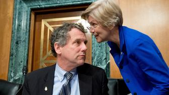 WASHINGTON, DC - JANUARY 27: Ranking Member Sen. Sherrod Brown (D-Ohio), left, speaks with Sen. Elizabeth Warren (D-Mass.), right, during a Senate Banking, Housing and Urban Affairs Committee hearing on Capitol Hill on January 27, 2015 in Washington, DC. (Photo by Andrew Harnik for The Washington Post via Getty Images)