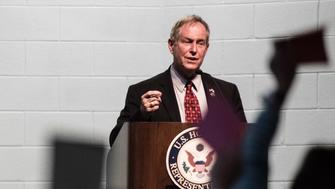 GRANITEVILLE, SC - APRIL 10: Rep. Joe Wilson (R-SC) talks with constituents during a town hall meeting April 10, 2017 at Aiken Technical College in Graniteville, South Carolina. Protestors have been showing up in large numbers to congressional town hall meetings across the nation. (Photo by Sean Rayford/Getty Images)