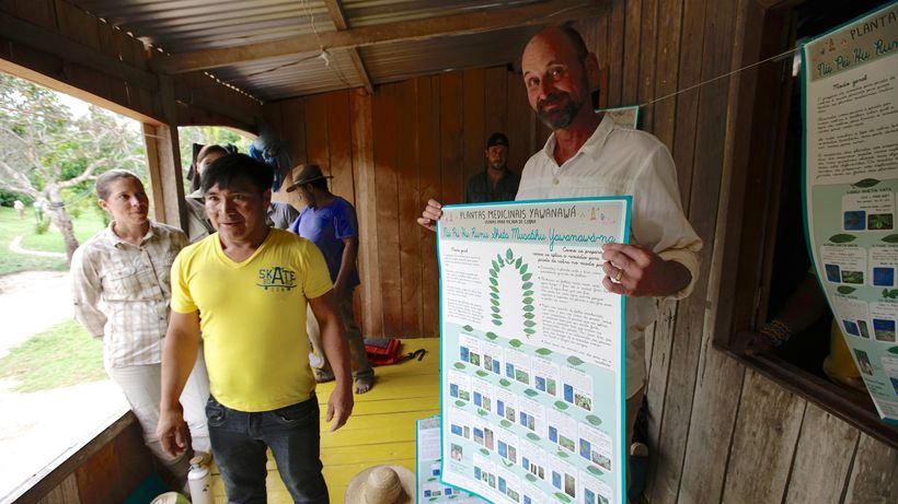 Forest Trends and USAID staff traveled to Yawanawa territory for the poster launch