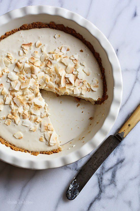 """<strong>Get the <a href=""""http://www.skinnytaste.com/coconut-obsessed-pie/"""" target=""""_blank"""">Coconut Pie recipe</a>from S"""