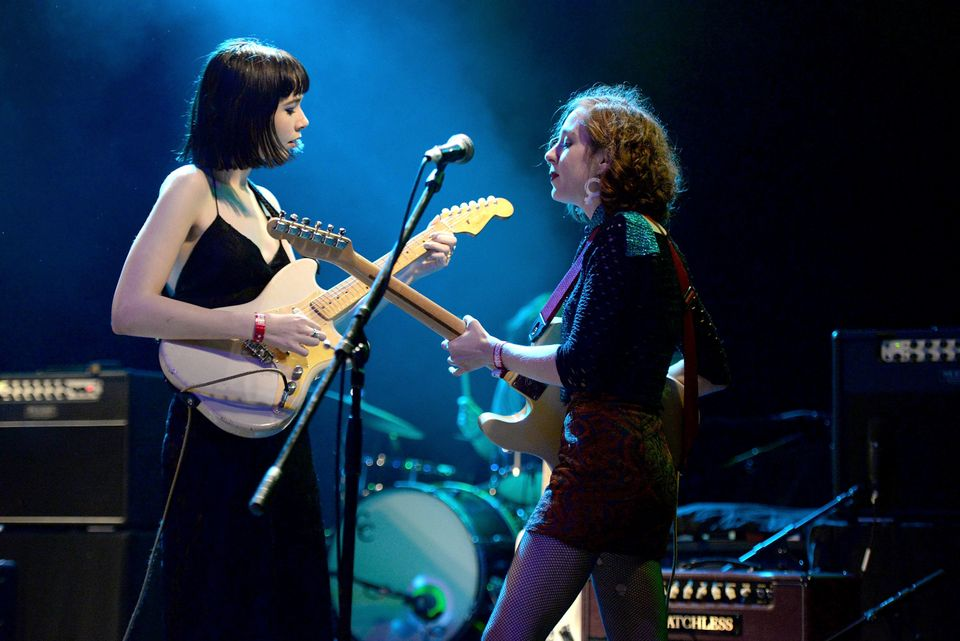 Night (L) and Genessa Gariano of The Regrettes perform at a Planned Parenthood