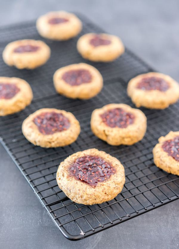 """<strong>Get the <a href=""""http://www.oneingredientchef.com/thumbprint-cookies/"""" target=""""_blank"""">Peanut Butter And Jelly Thumbp"""