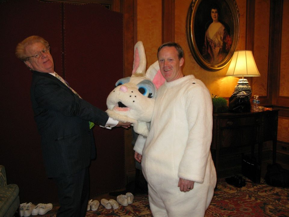 Future Trump press secretary Sean Spicer dressed up as the Easter Bunny for the White House Easter Egg Roll during the G