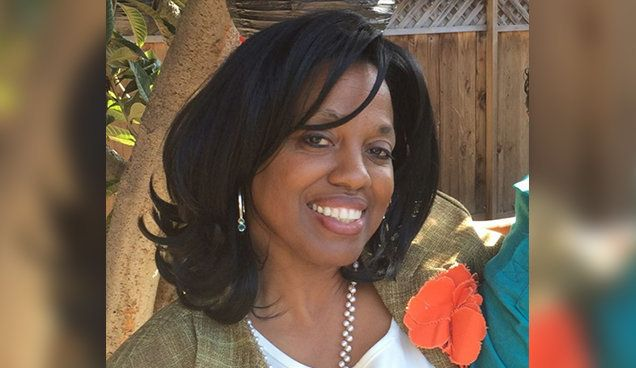 Karen Elaine Smith, pictured, was fatally shot in a classroom by her husband on Monday.