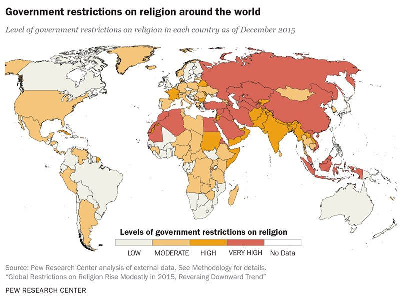 This Map Of The State Of Religious Freedom Around The World Is