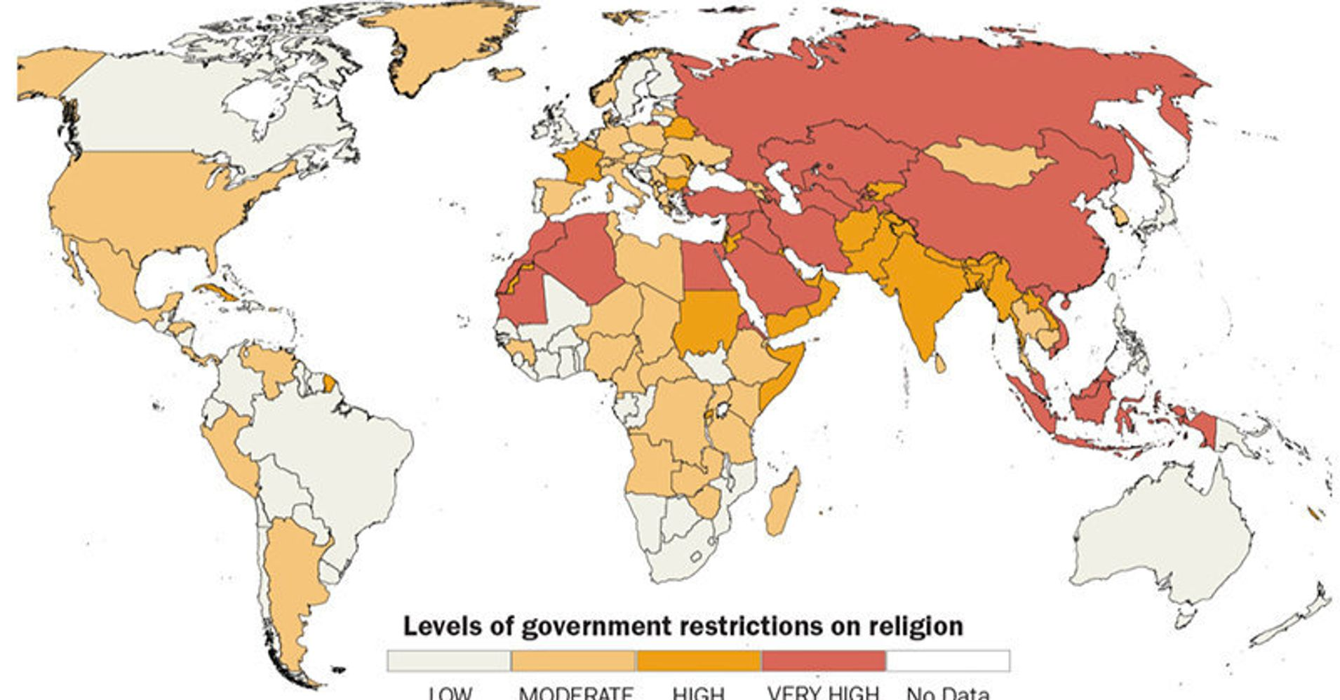 This Map Of The State Of Religious Freedom Around The World Is Chilling   Huffpost