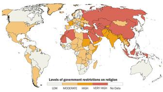 """Government restrictions on religion around the world."" Graphic courtesy of Pew Research Center"