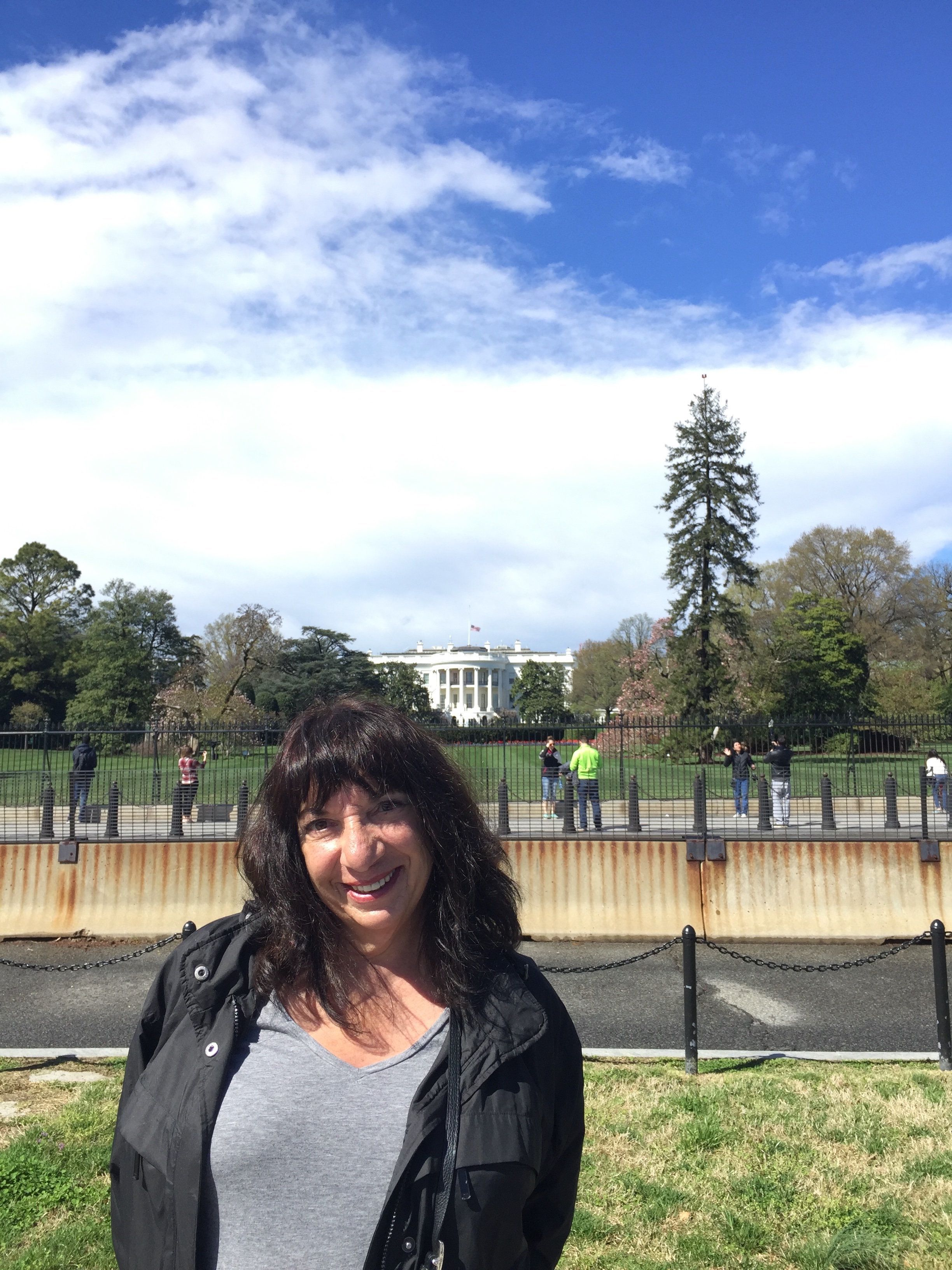 The author outside the White House on her most recent vacation.
