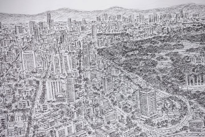 Wiltshire drew a panoramic sketch of Mexico City last October.