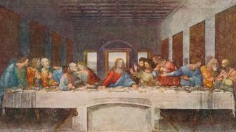 'The Last Supper', 1494-1498.  The mural painting was for the refectory of the Convent of Santa Maria delle Grazie, Milan and was commissioned as part of a scheme of renovations to the church and its convent buildings by Da Vinci's patron Ludovico Sforza, Duke of Milan. The painting represents the scene of The Last Supper of Jesus with his disciples, as it is told in the Gospel of John, 13:21. From World Famous Paintings edited by J Grieg Pirie [W.& G. Foyle Ltd., London, 1938.]   (Photo by The Print Collector/Getty Images)
