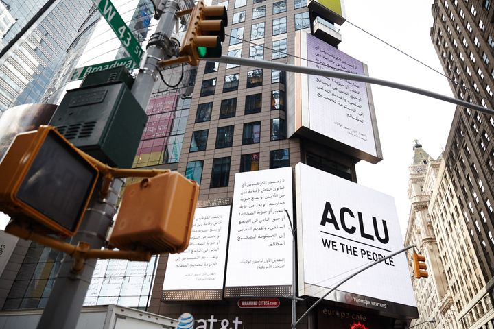 An ACLU billboard in Times Square features the First Amendment in Arabic.