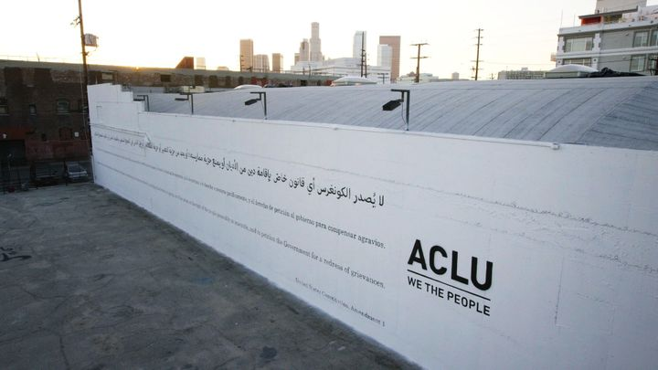 ACLU's billboard in downtown Los Angeles.