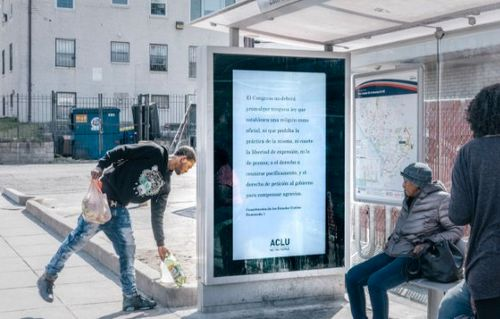 A First Amendment billboard at a bus stop in Washington.