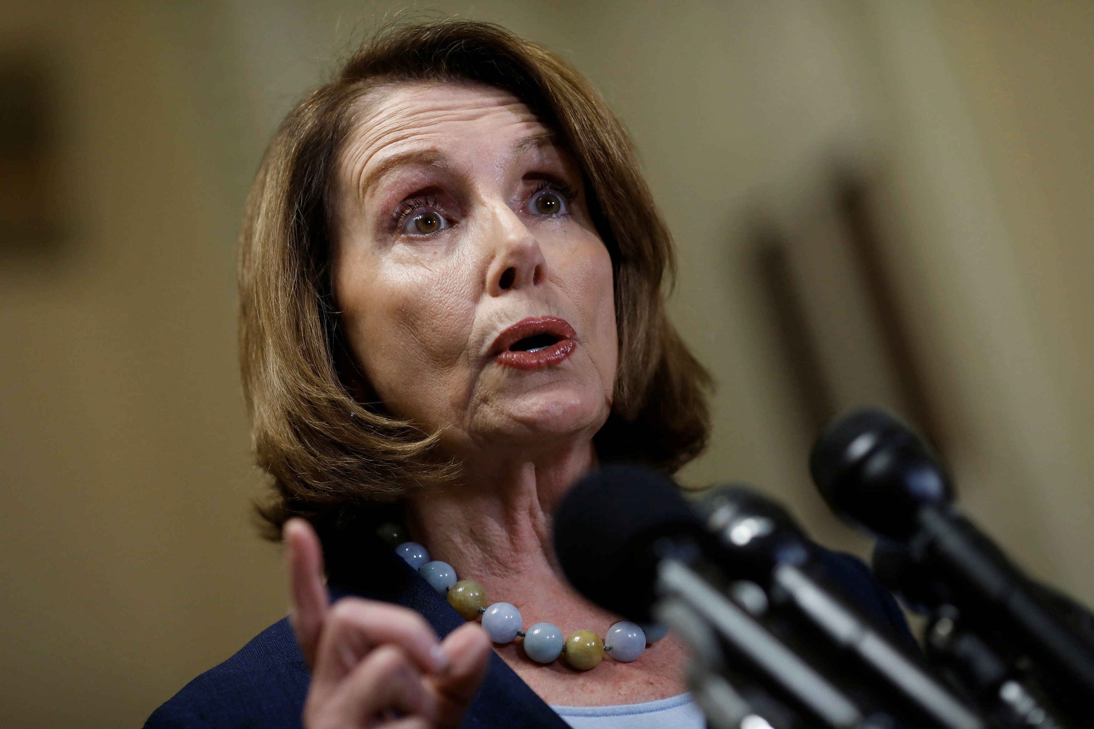 House Minority Leader Nancy Pelosi speaks at a press conference about the Congressional Budget Office's report on the American Health Care Act at the Capitol in Washington, D.C., U.S. March 13, 2017. REUTERS/Aaron P. Bernstein