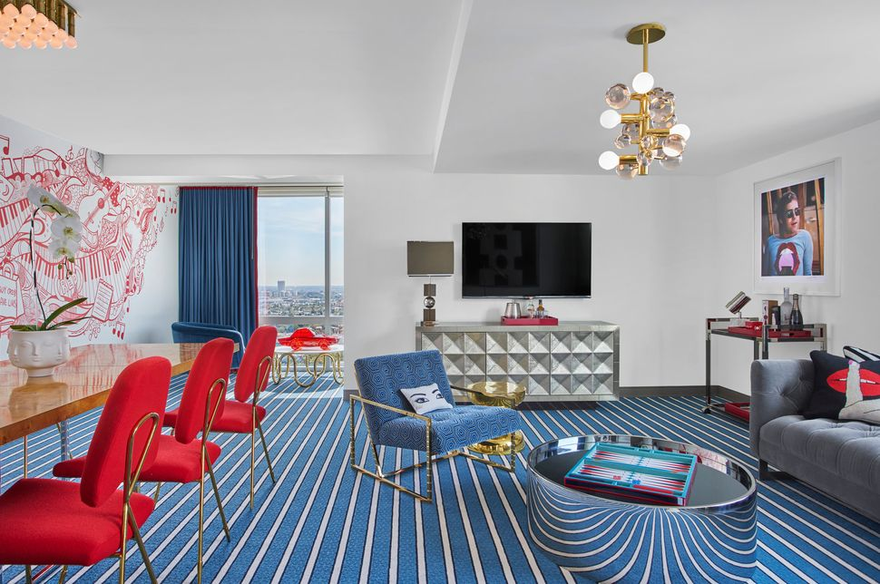 """I wanted to create a suite that was louche and luxurious,"" Adler said, ""and a little bit sybaritic."""