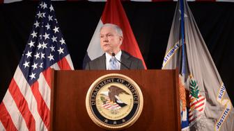 ST. LOUIS, MO - MARCH 31:  US Attorney General Jeff Sessions addresses law enforcement members at the Thomas Eagleton U.S. Courthouse on March 31, 2017 in St. Louis, Missouri. Attorney General Session is in town to work with federal, state and local law enforcement about efforts to combat violent crime and restore public safety. (Photo by Michael B. Thomas/Getty Images)