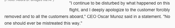 United Airline's CEO apologized.