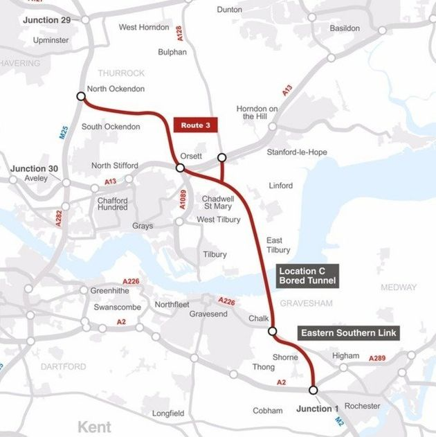 The route will go from Tilbury, Essex to Gravesend in Kent (click here for a zoomable version of this