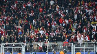 DORTMUND, GERMANY - APRIL 11: Supporters of Monaco during the later postponed UEFA Champions League Quarter Final first leg match between Borussia Dortmund and AS Monaco at Signal Iduna Park on April 11, 2017 in Dortmund, Germany. (Photo by Jean Catuffe/Getty Images)