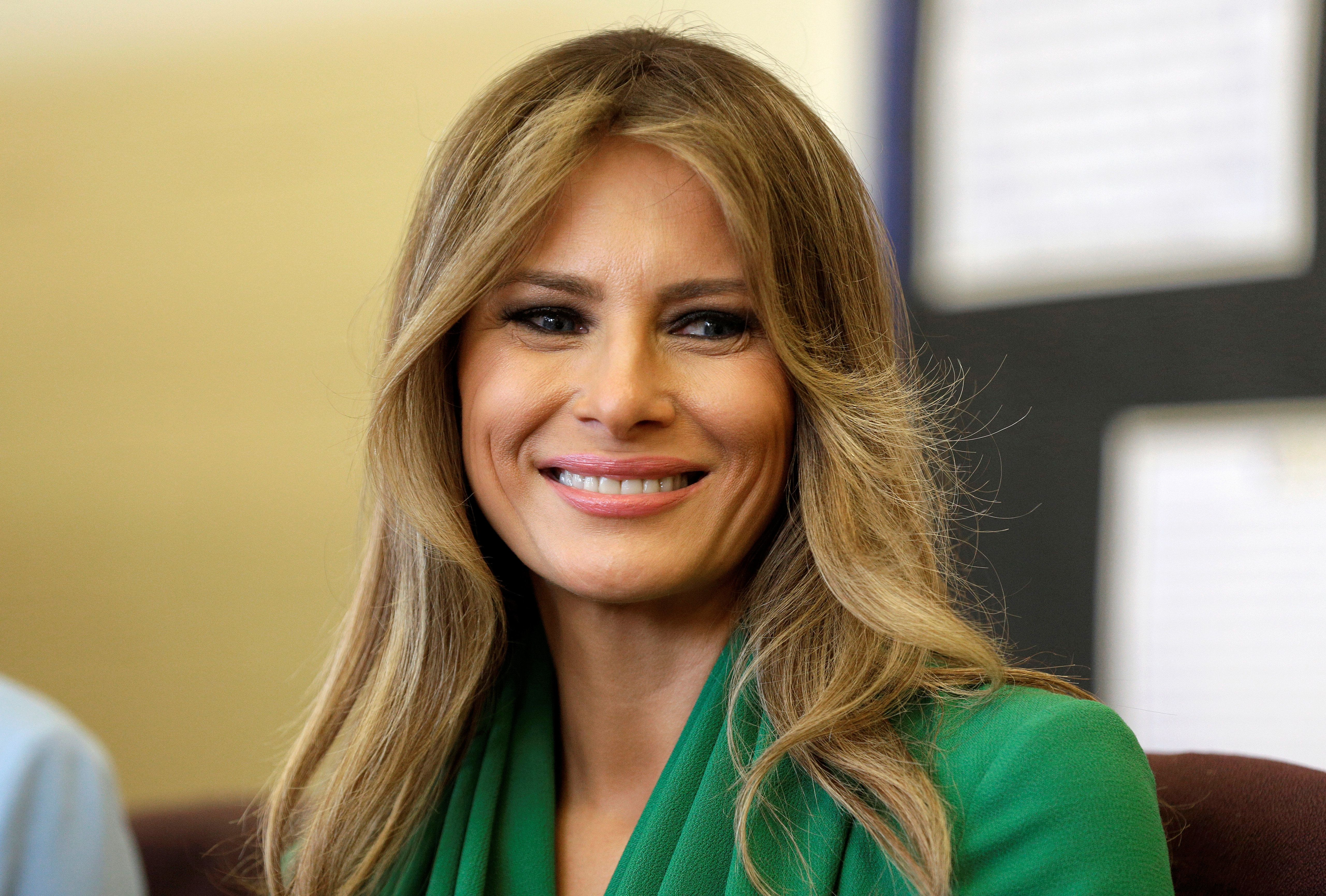 U.S. first lady Melania Trump smiles during a visit to Excel Academy Public Charter School in Washington, U.S., April 5, 2017. REUTERS/Joshua Roberts