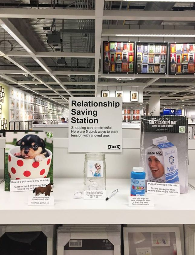 This Guy Put A 'Relationship Saving Station' In Ikea And It's What Every Couple