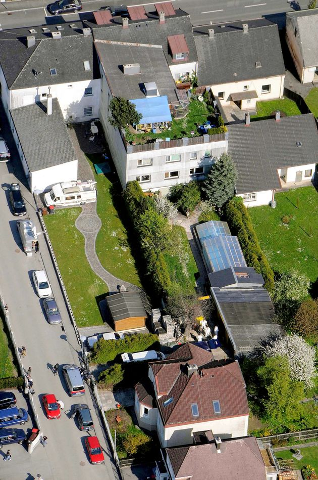 An aerial view of the house in Amstetten where Fritzl imprisoned his daughter and her children underground...