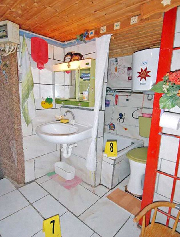 The bathroom in the basement where Elisabeth and her children were
