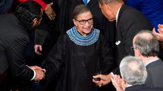 UNITED STATES - JANUARY 20: Supreme Court Justice Ruth Bader Ginsburg arrives for President Barack Obama's State of the Union address in the Capitol on Tuesday, Jan. 20, 2015. (Photo By Bill Clark/CQ Roll Call)