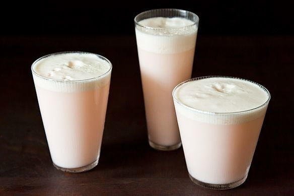 """<strong>Get the <a href=""""http://food52.com/recipes/4547-rhubarb-and-rose-ramos-gin-fizz"""" target=""""_blank"""">Rhubarb and Rose Ram"""