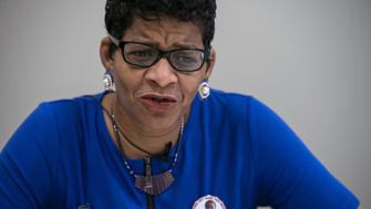 Geneva Reed-Veal, mother of Sandra Bland whose death in a Texas jail sparked protests, speaks to AFP in Charlotte, North Carolina, on September 20, 2016. Under a canvas tent, African-American businessman and chef Santi Jones was offering barbeque pork tacos to tailgaters outside a Carolina football game when he ruminated on Hillary Clinton and whether black voters will win her the White House. / AFP / NICHOLAS KAMM        (Photo credit should read NICHOLAS KAMM/AFP/Getty Images)
