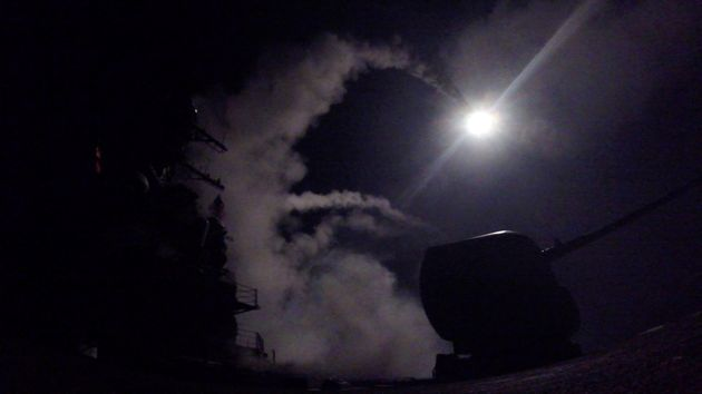 The USS Porter fires missiles from the Mediterranean at the Syrian