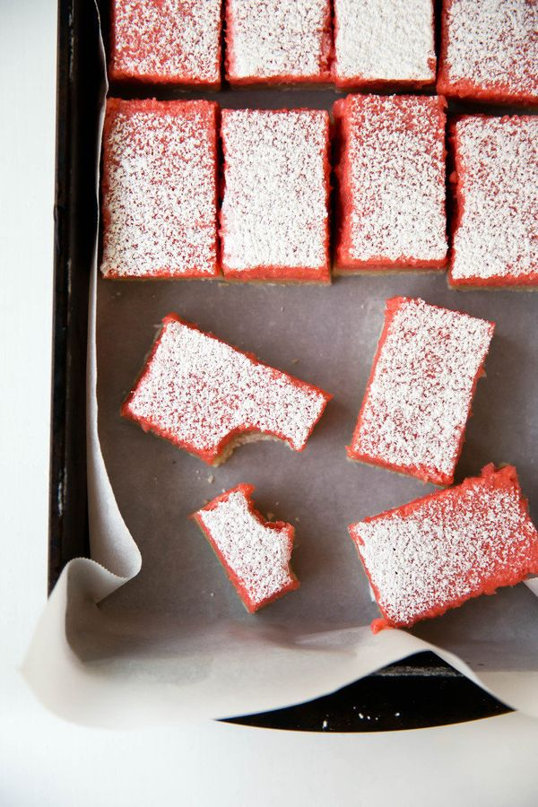 """<strong>Get the <a href=""""http://bromabakery.com/2015/06/rhubarb-bars.html"""" target=""""_blank"""">Rhubarb Bars recipe</a>from"""