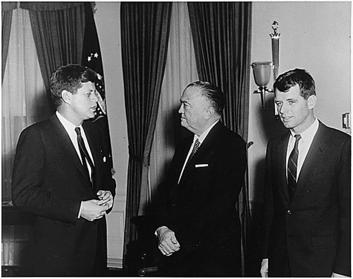 Presdient Kennedy and AG Kennedy with J. Edgar Hoover