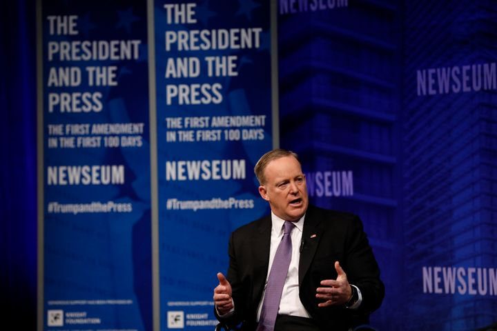 "White House press secretary Sean Spicer speaks at the Newseum during the ""The President and The Press, The First Amendme"
