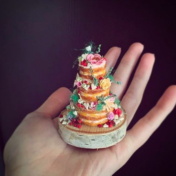 A teeny-tiny naked cake.
