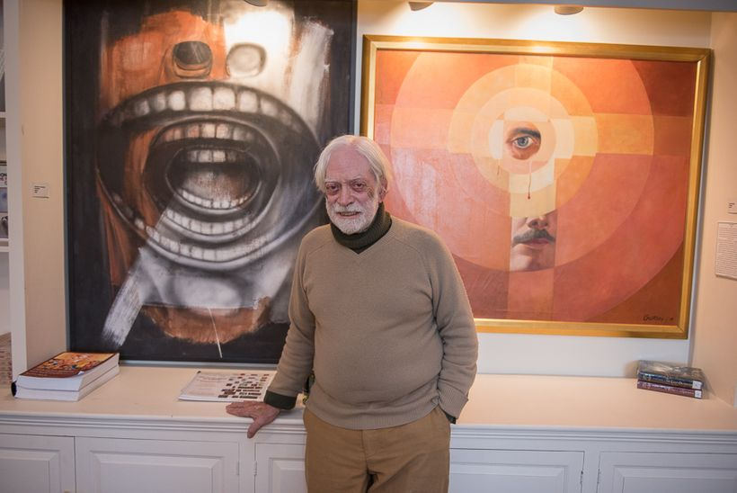 Alfred Levis with just two of his extensive Gorski collection in his Museum of the Creative Process.