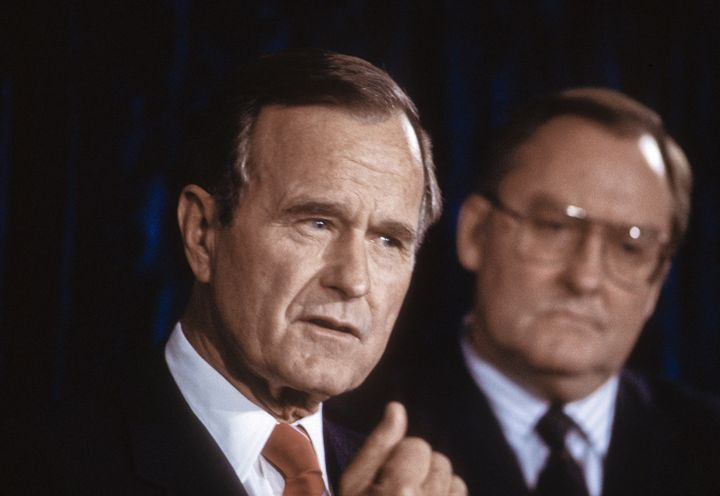 Vice President George H.W. Bush at campaign stop in Chicago with Republican Governnor James Thompson in November 1987.