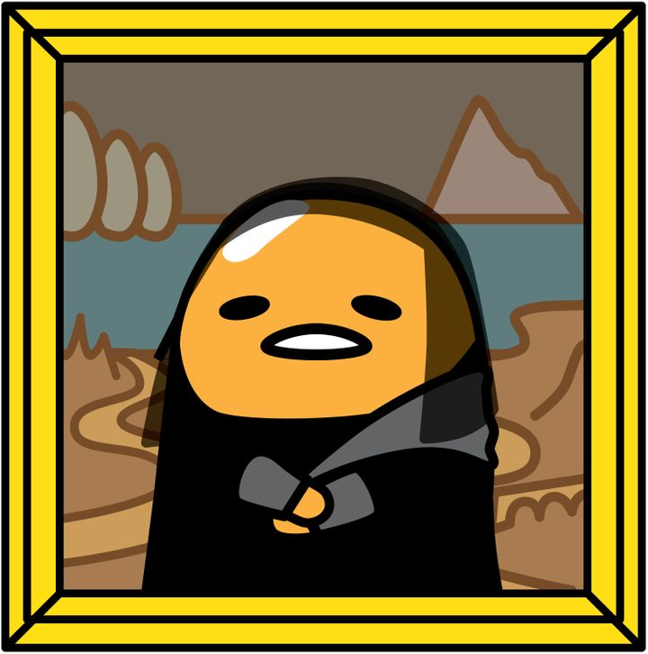 "Gudetama's take on da Vinci's ""Mona Lisa."""