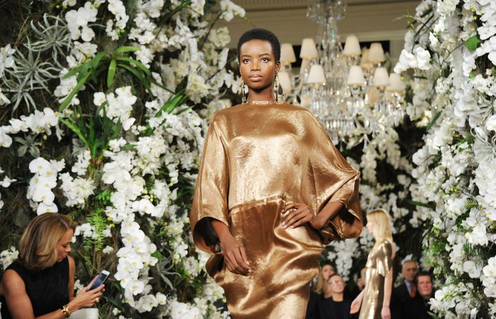 Maria Borges walks the runway for the Ralph Lauren show during February 2017 New York Fashion Week.