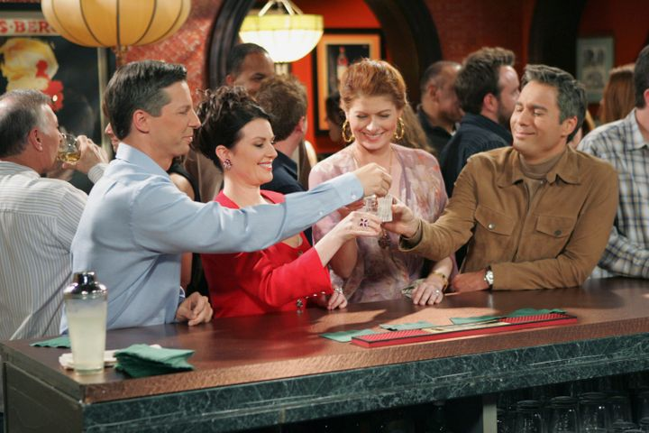 "Sean Hayes, Megan Mullally, Debra Messing and Eric McCormack in the ""Will & Grace"" finale."