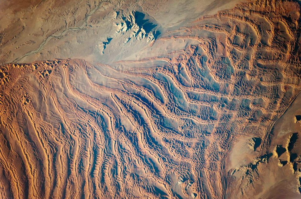 Image of the African dunes of the Namib Sand Sea taken by a member of the International Space Station Expedition 47 crew on M