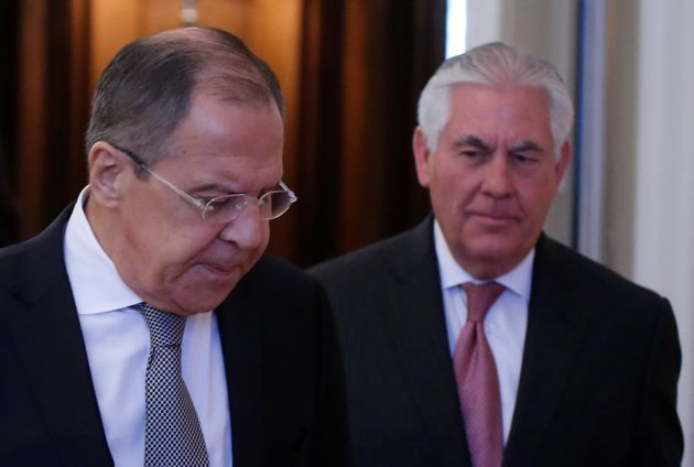 Lavrov (left) and Tillerson (right) in