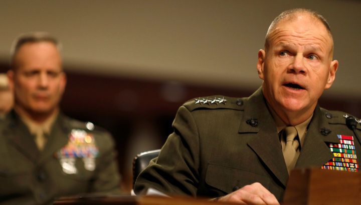 General Robert Neller testifies during a Senate Armed Services Committee hearing on the Marines United Facebook page on Capit