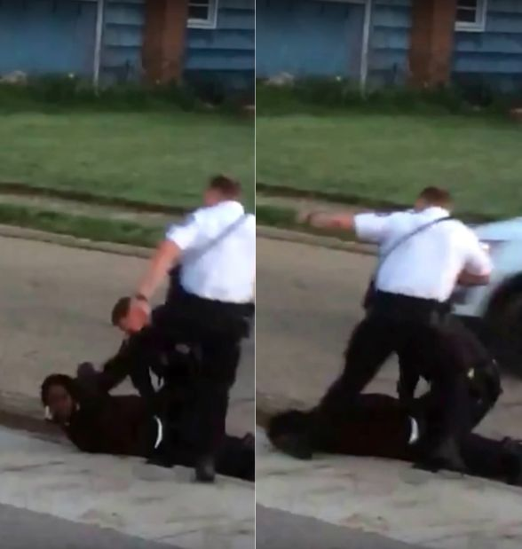 Video captured a Columbus, Ohio, police officer stomping on a handcuffed suspect's head.