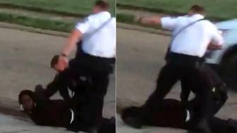 Video appears to show a Columbus Ohio police officer stomping on a handcuffed suspects head